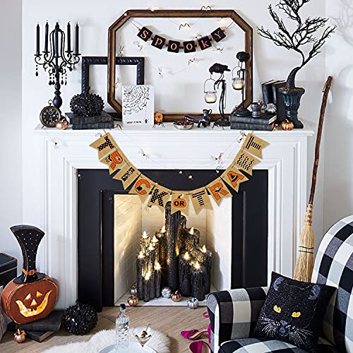 AVOIN Trick Or Treat Banner No DIY Required Chevron Polka Dot Spider Web Bat Pumpkin Witch Hat Rustic Pennant Decoration For Halloween Party Doorway Mantels Wall 0 3