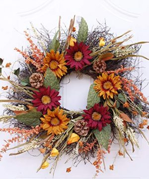 Abbie Home 24 Sunflower Wreath For Fall Red Orange Floral Wreaths With Green Leaves Pinecones For Front Door Window Garland Holiday Festival Fall Home Wall Decoration Everyday Housewarming Gift 0 300x360