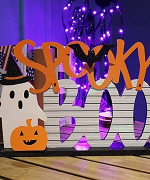 Adroiteet Halloween Decorations Tabletop Boo Ghost Pumpkin Signs 135 X 95 Wooden Metal Trick Or Treat Party Table Centerpieces For Home Room Office 0 300x360