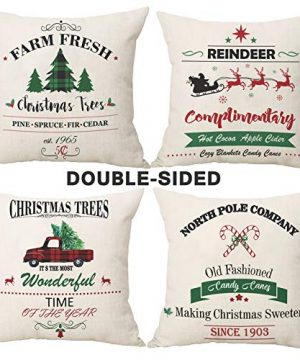 AerWo Christmas Pillow Covers 18x18 Set Of 4 Buffalo Plaid Christmas Decorations With Buffalo Check Red Truck Xmas Tree Cotton Throw Pillows For Farmhouse Christmas Home Decorations 0 300x360