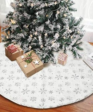 AerWo White Christmas Tree Skirt 48 Inch Large Faux Fur Xmas Tree Skirts Mat With Silver Sequin Snowflakes Holiday Party Christmas Tree Decorations Ornaments Indoor Outdoor 0 300x360