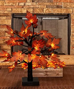 Aesto Fall Lighted Maple Tree Decoration Fall Decorations 24 LED Thanksgiving Decorations Table Lights Maple Decorations For Home With Warm White Lights 0 300x360
