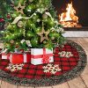 Aiduy Christmas Tree Skirt 48 Inch Large Buffalo Plaid Christmas Tree Skirt Rustic Burlap Xmas Tree Skirt With Thick Faux Fur Snowflake 0 100x100