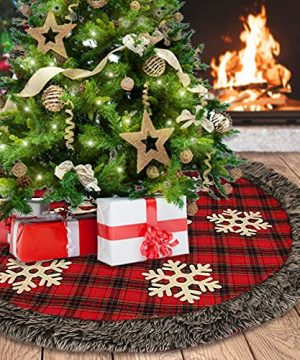 Aiduy Christmas Tree Skirt 48 Inch Large Buffalo Plaid Christmas Tree Skirt Rustic Burlap Xmas Tree Skirt With Thick Faux Fur Snowflake 0 300x360