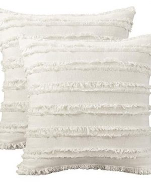 AmHoo Set Of 2 Farmhouse Boho Throw Pillow Covers Cotton Linen Striped Tassel For Sofa Couch Bed Living Room Bedroom 20 X 20 Inch Ivory White 0 300x360