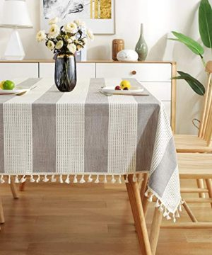 AmHoo Stitching Tassel Tablecloth Striped Table Cloth Rectangle Cotton Linen Dust Proof Table Cover For Kitchen Dinning 54 X 86 Inch Taupe 0 300x360