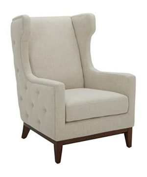 Amazon Brand Stone Beam Rosewood Button Tufted Upholstered Wingback Accent Chair 30W Cream 0 300x360