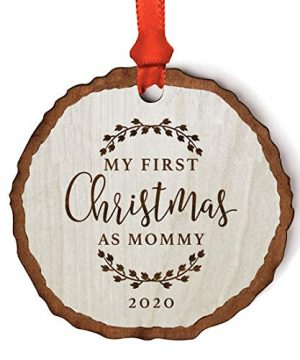 Andaz Press Custom Year Real Wood Rustic Farmhouse Keepsake Christmas Ornament Engraved Wood Slab Our First Christmas As Grandparents 2021 Rustic Laurel Leaves 1 Pack Includes Ribbon And Gift Bag 0 300x360