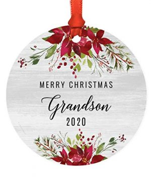 Andaz Press Custom Year Round Metal Keepsake Christmas Ornament Gift Farmhouse Rustic Gray Wood Deep Red Poinsettia Flower Merry Christmas Grandson 2021 1 Pack Includes Gift Bag And Ribbon 0 300x360