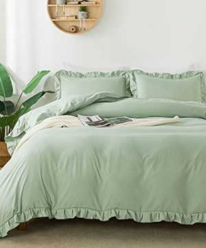 Andency Sage Green Duvet Cover Full79x90Inch 3 Pieces1 Ruffled Duvet Cover And 2 Pillowcases Farmhouse Shabby Chic Duvet Cover Soft Microfiber Duvet Cover Set With Zipper Closure Corner Ties 0 300x360