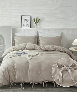 Annadaif Khaki Duvet Cover Full Size3 Pieces Soft Washed Microfiber Duvet Cover Set Comforter Cover With Bowknot Bow Tie 1 Duvet Cover 79x90 Inch 2 PillowcasesEasy Care Bedding Set 0 300x360