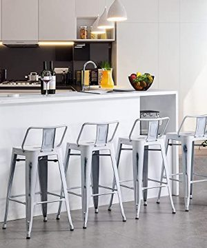 Apeaka 30 Inch Metal Bar Stools Set Of 4 Counter Height Stools With Backs Low Back Bar Chairs For Indoor Outdoor Distressed White 0 300x360