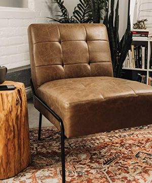 Armless Accent Chair Upholstered Living Room Chair With Stain Resistant Fabric And Elegant Pintucking Premium High Density Foam Cushion Easy Assembly Faux Brown Leather 0 300x360