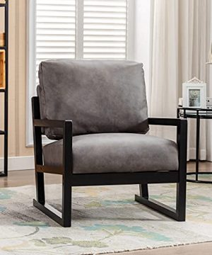 Artechworks Lounge Mid Century Retro Modern Accent Wooden Arm Chair Hardwood Upholstered Tufted For Living Room Bedroom Apartment Dark Grey Tech ClothLeathaire 0 300x360
