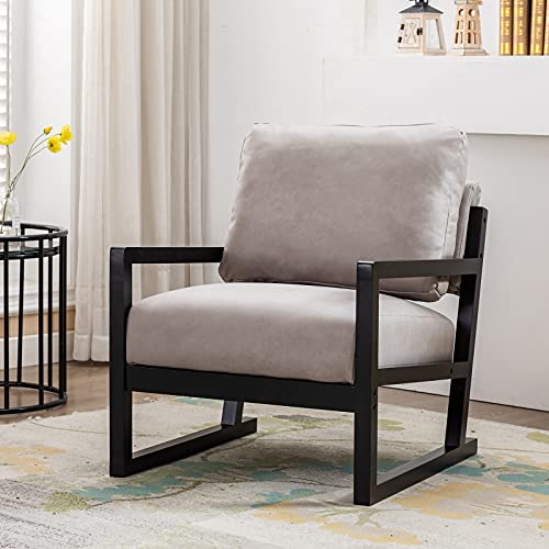 Artechworks Lounge Mid Century Retro Modern Accent Wooden Arm Chair Hardwood Upholstered Tufted For Living Room Bedroom Apartment Light Grey Tech ClothLeathaire 0 1
