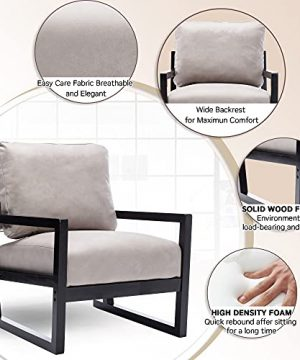 Artechworks Lounge Mid Century Retro Modern Accent Wooden Arm Chair Hardwood Upholstered Tufted For Living Room Bedroom Apartment Light Grey Tech ClothLeathaire 0 2 300x360