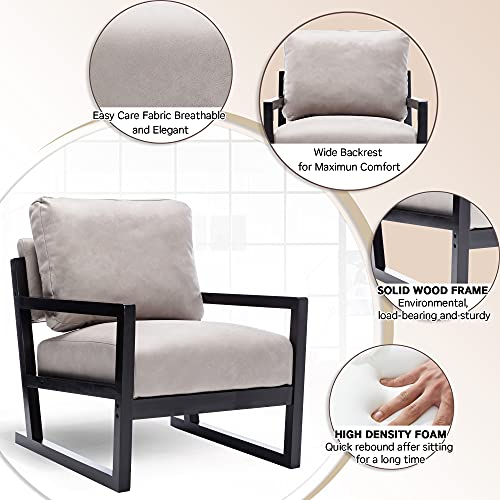 Artechworks Lounge Mid Century Retro Modern Accent Wooden Arm Chair Hardwood Upholstered Tufted For Living Room Bedroom Apartment Light Grey Tech ClothLeathaire 0 2
