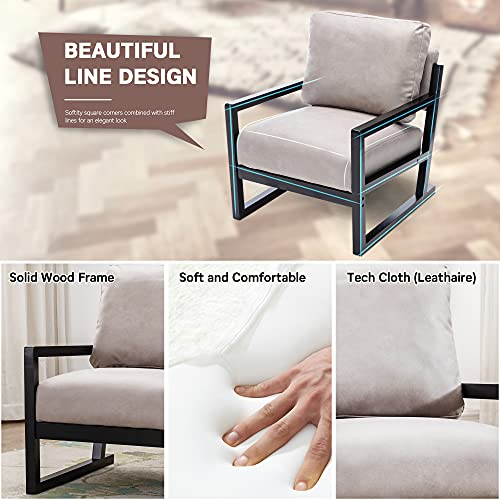 Artechworks Lounge Mid Century Retro Modern Accent Wooden Arm Chair Hardwood Upholstered Tufted For Living Room Bedroom Apartment Light Grey Tech ClothLeathaire 0 3