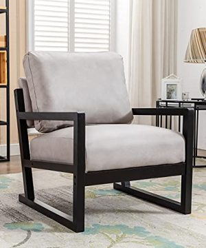 Artechworks Lounge Mid Century Retro Modern Accent Wooden Arm Chair Hardwood Upholstered Tufted For Living Room Bedroom Apartment Light Grey Tech ClothLeathaire 0 300x360