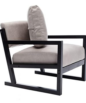 Artechworks Lounge Mid Century Retro Modern Accent Wooden Arm Chair Hardwood Upholstered Tufted For Living Room Bedroom Apartment Light Grey Tech ClothLeathaire 0 4 300x360
