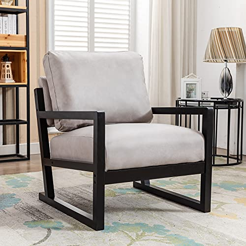 Artechworks Lounge Mid Century Retro Modern Accent Wooden Arm Chair Hardwood Upholstered Tufted For Living Room Bedroom Apartment Light Grey Tech ClothLeathaire 0
