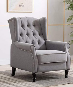 Artechworks Winged Fabric Modern Accent Chair Tufted Arm Club Chair Linen Single Sofa With Wooden Legs Comfy Upholstered For Reading Living Room Bedroom OfficeGrey 0 300x360