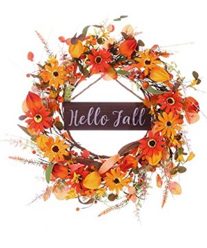 Artificial Fall Wreath With Hello Fall Sign20 Autumn Front Door Wreath Fall Flower Wreath With Pumpkin And Berry For Home Farmhouse Wall Window And Thanksgiving Decor Beautiful Gift Box Included 0 300x360