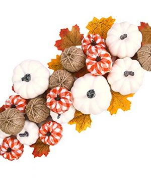 Artificial Pumpkin Fall Decor 18Pcs Assorted Harvest Burlap Bufflo Plaid White Pumpkins With 30Pcs Fake Maple Leaves For Wedding Thanksgiving Halloween Holiday Farmhouse Fall Decorations 0 300x360