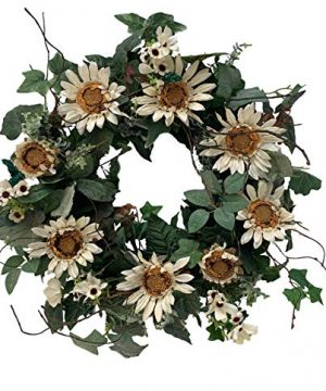 Artificial Sunflower Wreath 24 Inch Fall Winter Front Door Wreath With Green Leaves DIY Buffalo Plaid White Blossom Floral Wreath On Grapevine Base For Wall Window Farmhouse Home Decor 0 300x360