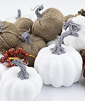 Artificial White PumpkinsAssorted Rustic Harvest Artificial Bulap Pumpkins For Fall Wedding Thanksgiving Halloween Tabletop Decor 18 Pcs 0 300x355