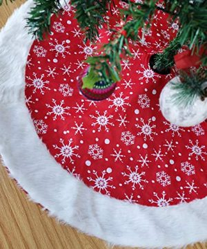 Athoinsu 46 Large Red Christmas Tree Skirt Tree Mat With Snow Flake Furry Plush Edge For Xmas Holiday Party Favors Gifts For Family Boys Girls 0 300x360