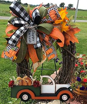 Autumn Wreath Frame For Front Door Outside Artificial Fall Eucalyptus Wreath Farmhouse Decor Rustic Hanging Wreath Fall Wreaths For Thanksgiving Halloween Christmas Decorations F 0 300x360