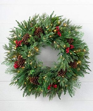 Balsam Hill 30 Inch Premium Prelit Winter Evergreen Holiday Artificial Christmas Wreath With Battery Powered Clear LED Lights 0 300x360
