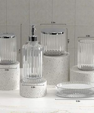 Bathroom Accessories Set 5 Pieces Glass Bath Accessory Collection Vanity Countertop Set Completes With Soap Dispenser Cotton Holder Toothbrush Holder Tumbler Soap Dish Free Soap Saver Included 0 1 300x360