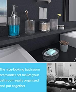 Bathroom Accessories Set 5 Pieces Glass Bath Accessory Collection Vanity Countertop Set Completes With Soap Dispenser Cotton Holder Toothbrush Holder Tumbler Soap Dish Free Soap Saver Included 0 3 300x360