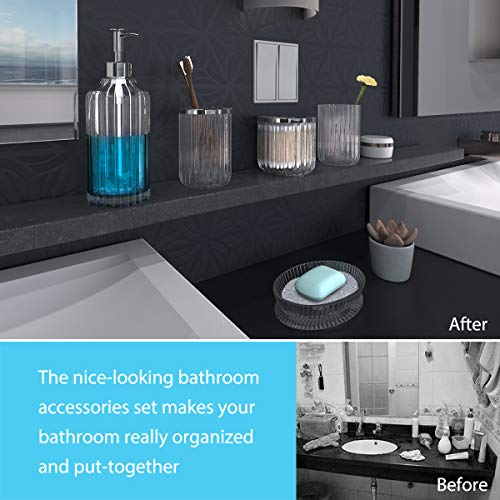 Bathroom Accessories Set 5 Pieces Glass Bath Accessory Collection Vanity Countertop Set Completes With Soap Dispenser Cotton Holder Toothbrush Holder Tumbler Soap Dish Free Soap Saver Included 0 3