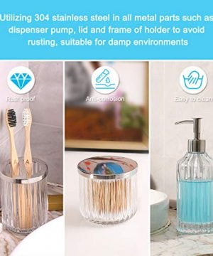 Bathroom Accessories Set 5 Pieces Glass Bath Accessory Collection Vanity Countertop Set Completes With Soap Dispenser Cotton Holder Toothbrush Holder Tumbler Soap Dish Free Soap Saver Included 0 4 300x360