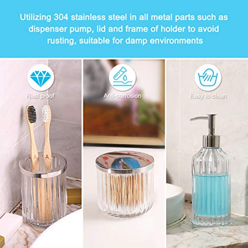 Bathroom Accessories Set 5 Pieces Glass Bath Accessory Collection Vanity Countertop Set Completes With Soap Dispenser Cotton Holder Toothbrush Holder Tumbler Soap Dish Free Soap Saver Included 0 4