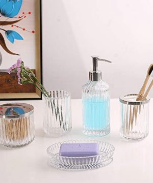 Bathroom Accessories Set 5 Pieces Glass Bath Accessory Collection Vanity Countertop Set Completes With Soap Dispenser Cotton Holder Toothbrush Holder Tumbler Soap Dish Free Soap Saver Included 0 5 300x360