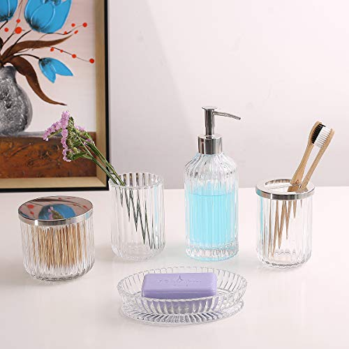 Bathroom Accessories Set 5 Pieces Glass Bath Accessory Collection Vanity Countertop Set Completes With Soap Dispenser Cotton Holder Toothbrush Holder Tumbler Soap Dish Free Soap Saver Included 0 5