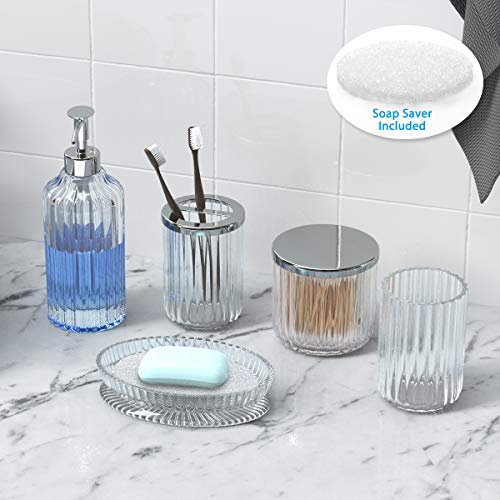 Bathroom Accessories Set 5 Pieces Glass Bath Accessory Collection Vanity Countertop Set Completes With Soap Dispenser Cotton Holder Toothbrush Holder Tumbler Soap Dish Free Soap Saver Included 0