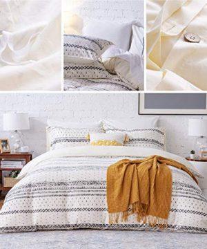 Bedsure 80 Cotton 20 Linen Duvet Cover Set Washed Cotton Queen Comforter Cover 3 Pieces Breathable Lightweight Geometric Duvet Cover Sets FullQueen 90x90 Inches WhiteBlack 0 2 300x360
