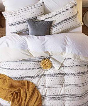 Bedsure 80 Cotton 20 Linen Duvet Cover Set Washed Cotton Queen Comforter Cover 3 Pieces Breathable Lightweight Geometric Duvet Cover Sets FullQueen 90x90 Inches WhiteBlack 0 4 300x360