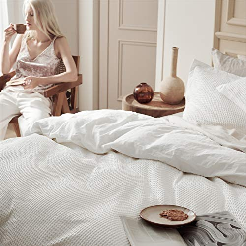 Bedsure Cotton Duvet Cover Set 100 Cotton Waffle Weave Coconut White Duvet Cover Twin Size Soft And Breathable Twin Duvet Cover Set For All Season Twin 68x90 0 0