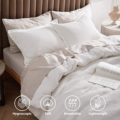 Bedsure Cotton Duvet Cover Set 100 Cotton Waffle Weave Coconut White Duvet Cover Twin Size Soft And Breathable Twin Duvet Cover Set For All Season Twin 68x90 0 1