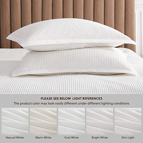 Bedsure Cotton Duvet Cover Set 100 Cotton Waffle Weave Coconut White Duvet Cover Twin Size Soft And Breathable Twin Duvet Cover Set For All Season Twin 68x90 0 2