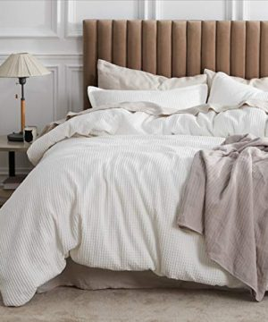 Bedsure Cotton Duvet Cover Set 100 Cotton Waffle Weave Coconut White Duvet Cover Twin Size Soft And Breathable Twin Duvet Cover Set For All Season Twin 68x90 0 300x360