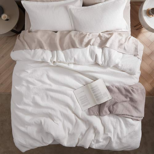 Bedsure Cotton Duvet Cover Set 100 Cotton Waffle Weave Coconut White Duvet Cover Twin Size Soft And Breathable Twin Duvet Cover Set For All Season Twin 68x90 0 4