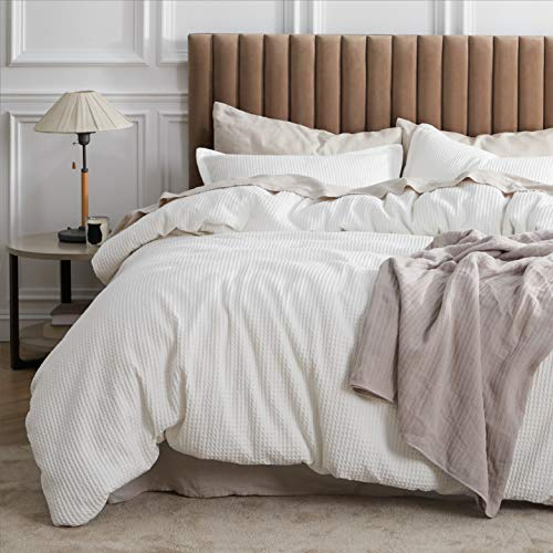 Bedsure Cotton Duvet Cover Set 100 Cotton Waffle Weave Coconut White Duvet Cover Twin Size Soft And Breathable Twin Duvet Cover Set For All Season Twin 68x90 0