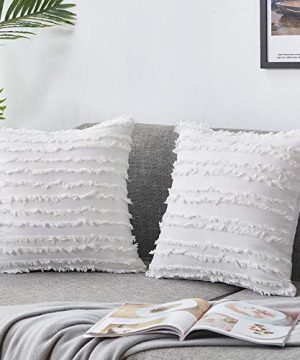 Bedwin Boho Throw Pillow Covers 18x18 White Striped Linen Decorative Pillow Covers For Farmhouse Sofa Couch Chair Living Room Ivory White Set Of 2 0 300x360